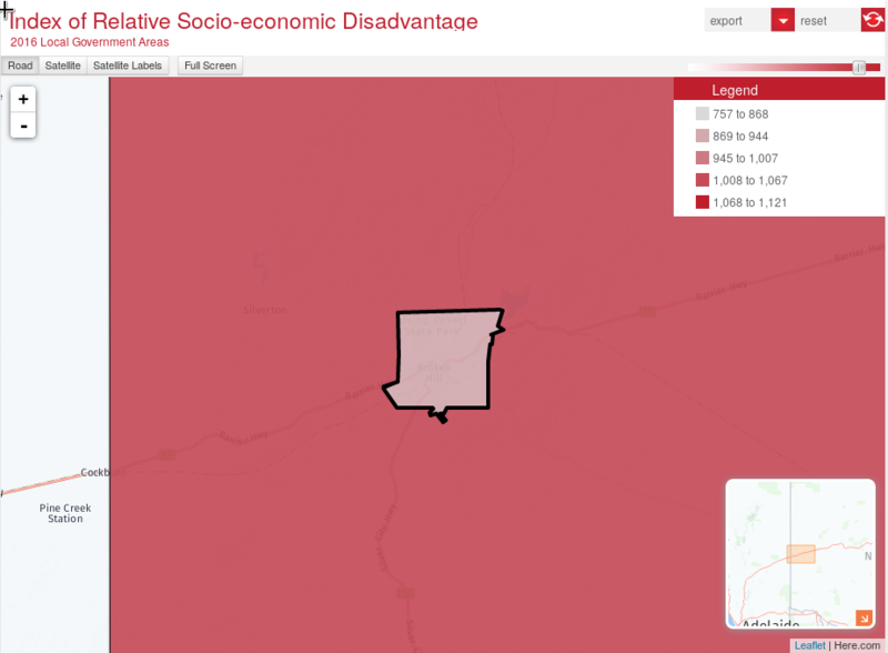 Socio-Economic Index Map of Broken Hill